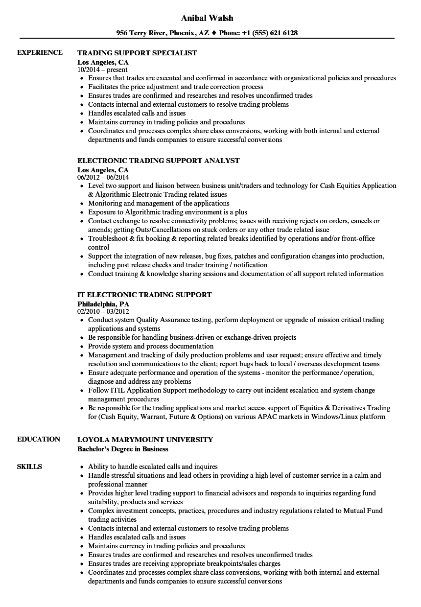 Download Trading Support Resume Sample As Image File