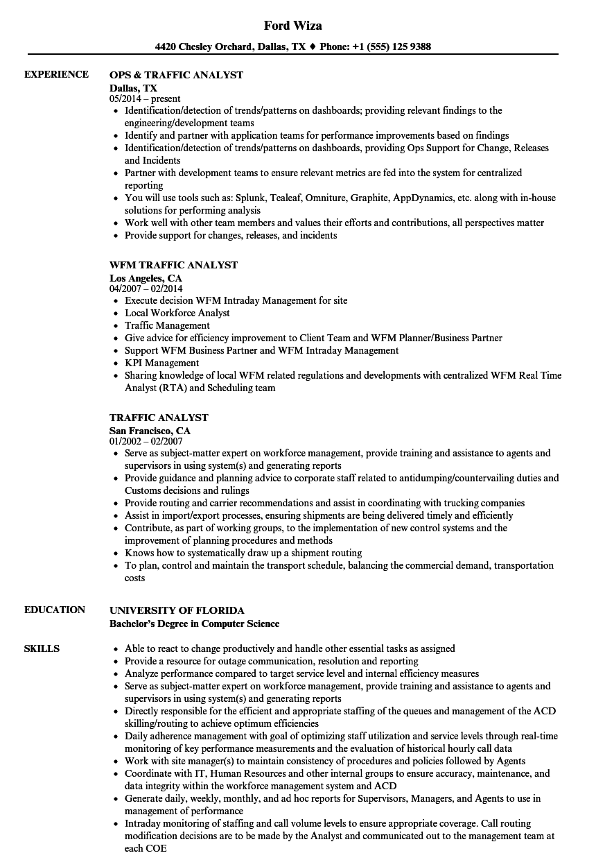 download traffic analyst resume sample as image file - Workforce Management Analyst Sample Resume