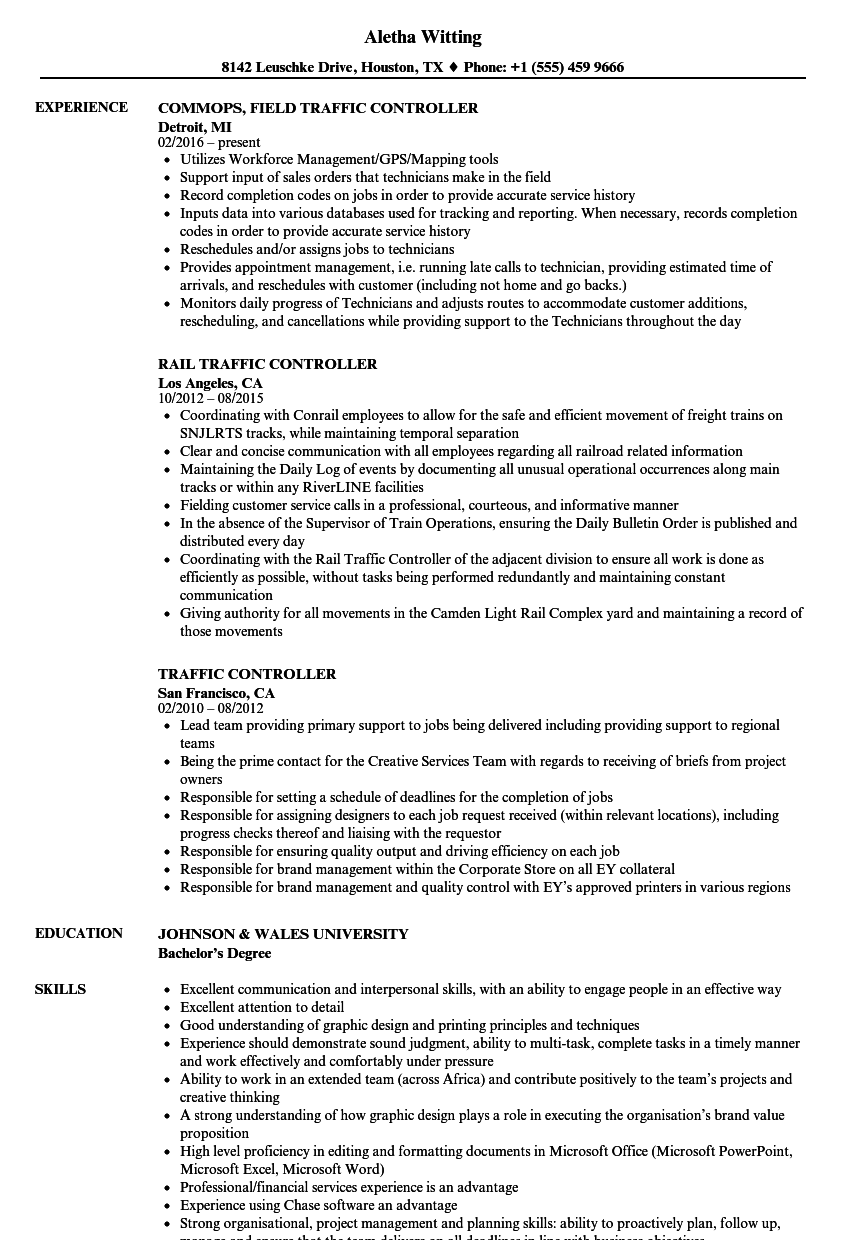 Traffic Controller Resume Samples | Velvet Jobs