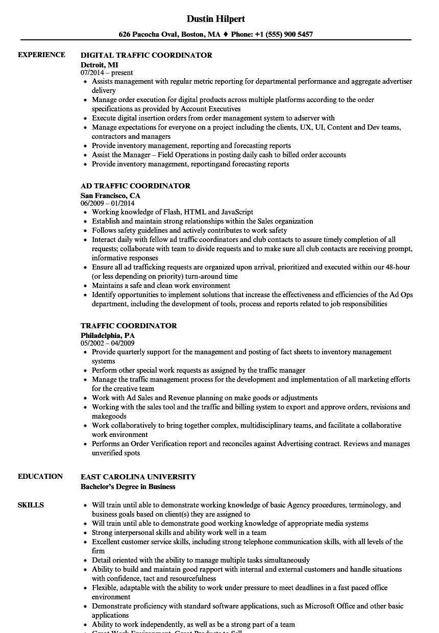 Traffic Coordinator Resume Samples | Velvet Jobs