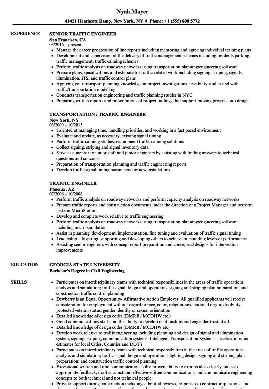 Traffic Engineer Resume Samples | Velvet Jobs