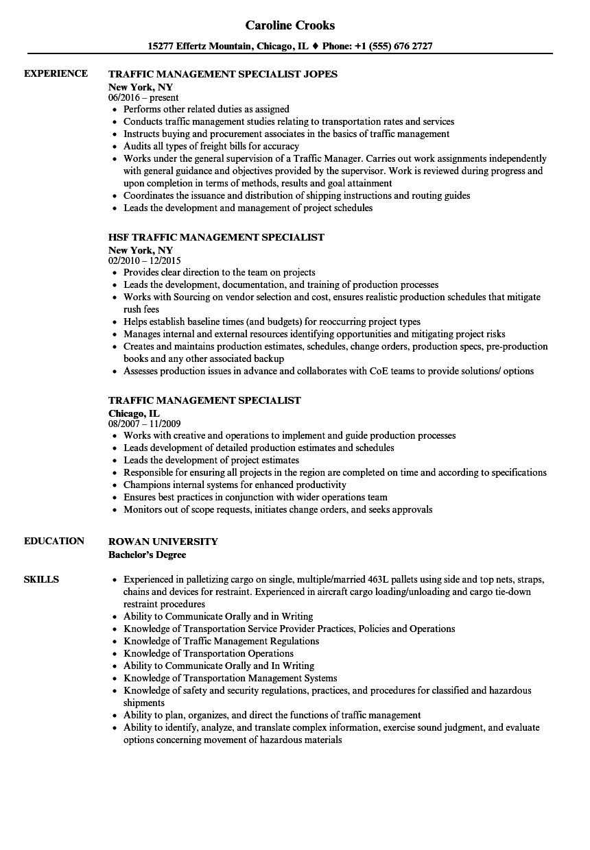 traffic management specialist resume samples
