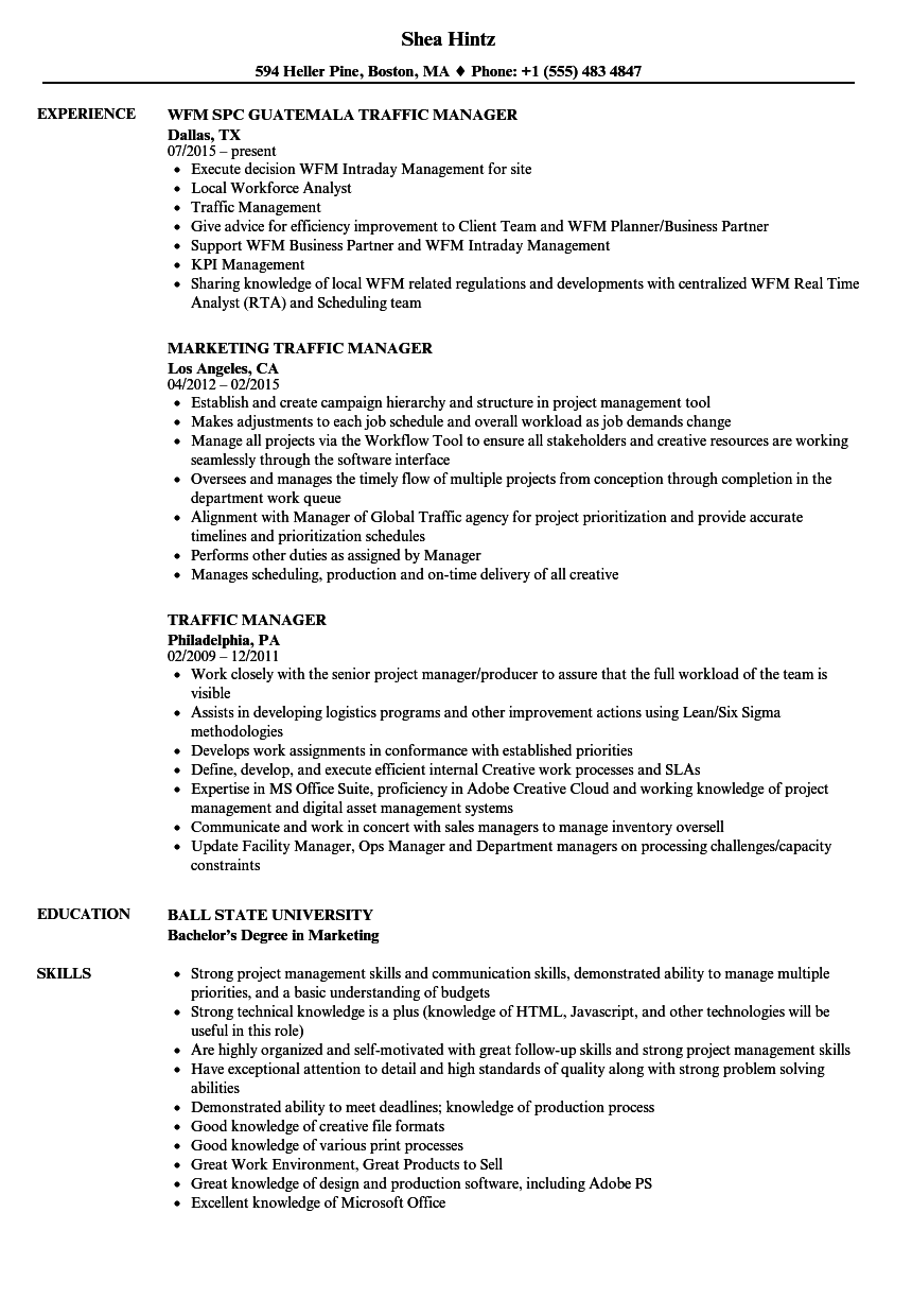 Traffic Manager Resume Samples | Velvet Jobs