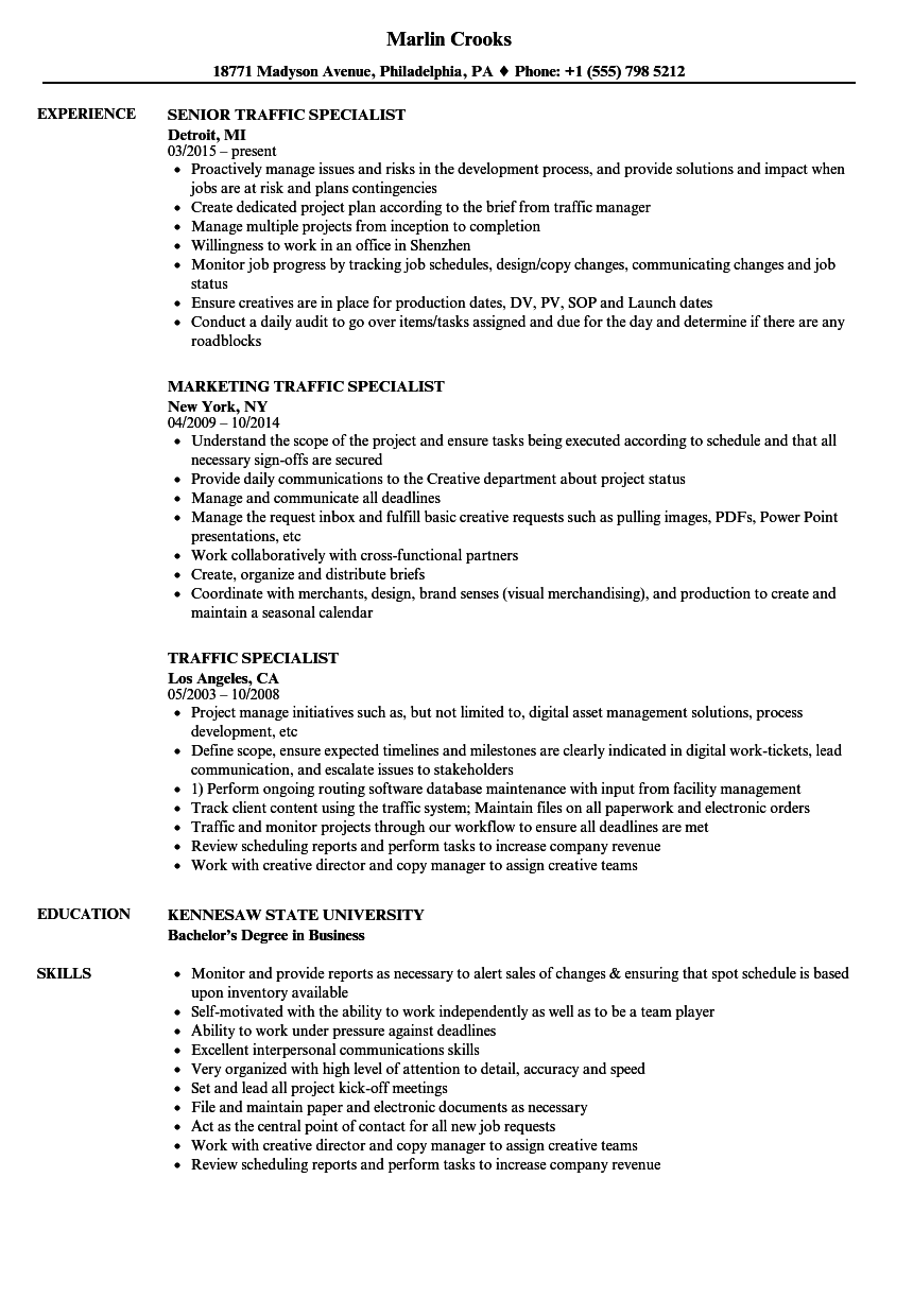 traffic specialist resume samples