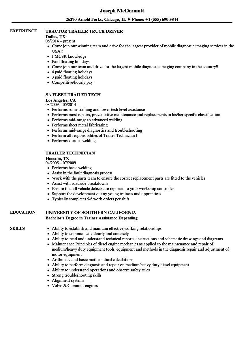 Trailer Resume Samples Velvet Jobs