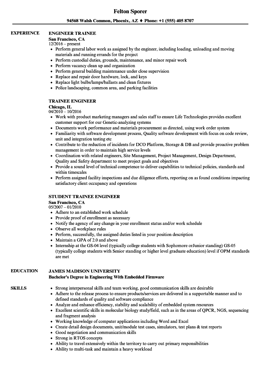 Trainee Engineer Resume Samples | Velvet Jobs