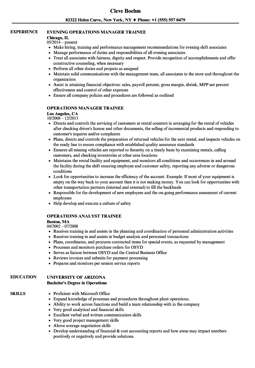 Trainee / Operations Resume Samples | Velvet Jobs