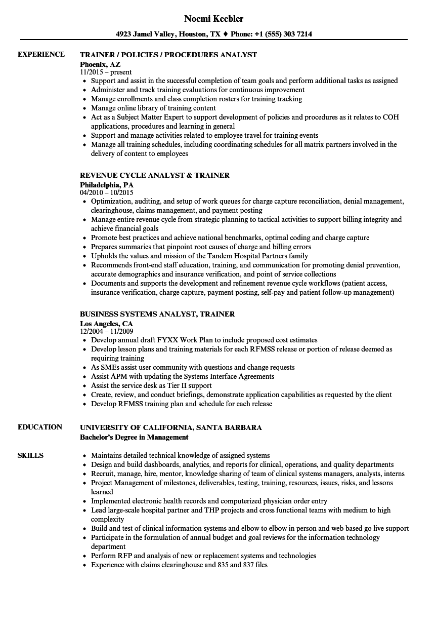 Trainer Analyst Resume Samples Velvet Jobs
