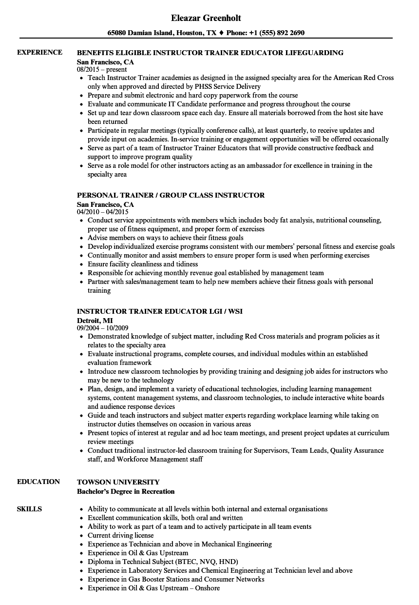 Trainer Instructor Resume Samples Velvet Jobs
