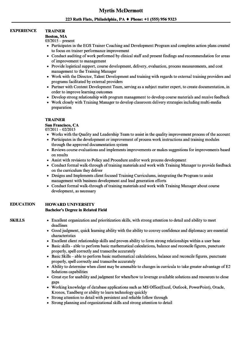 Trainer Resume Samples Velvet Jobs