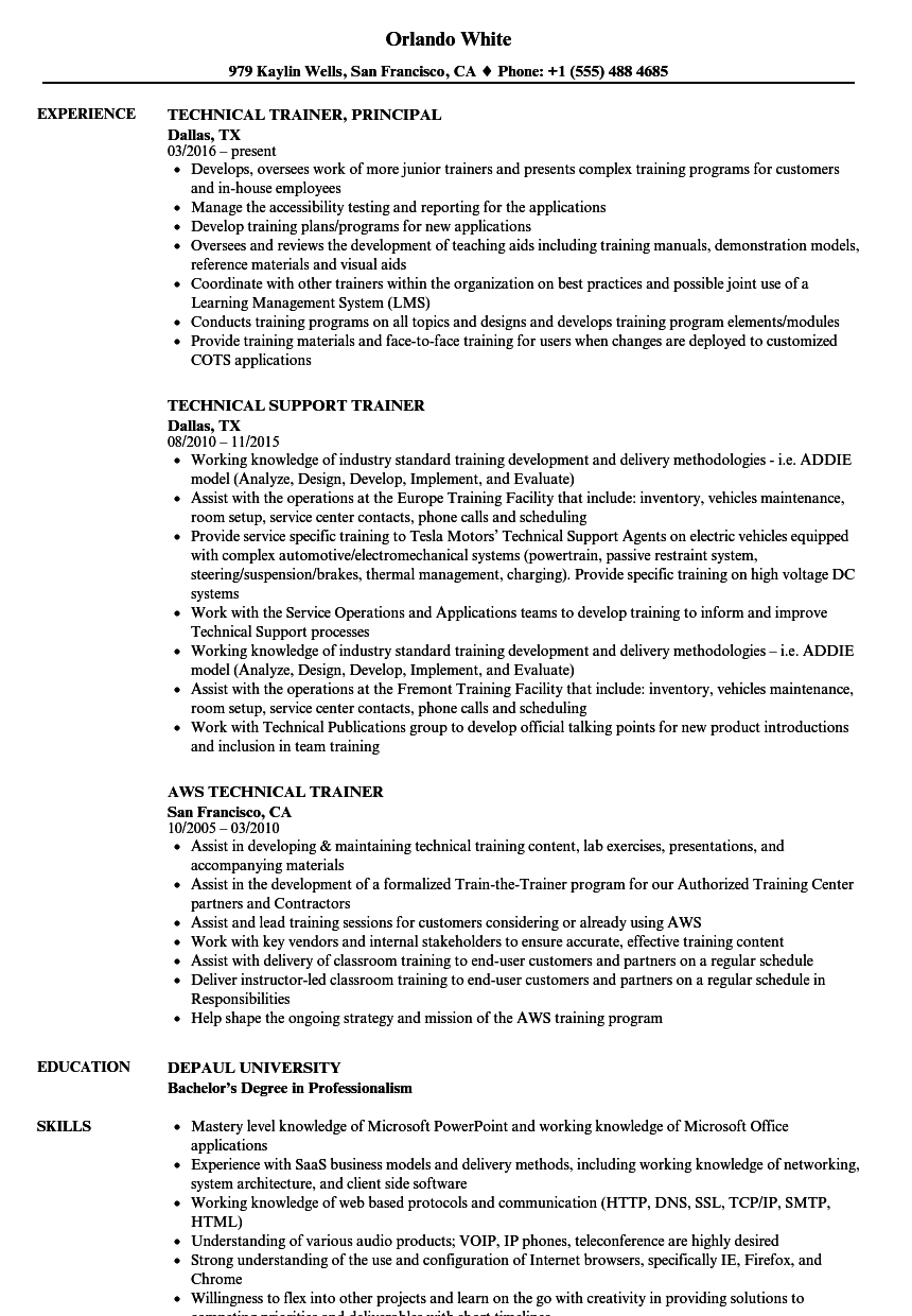 Trainer Technical Resume Samples Velvet Jobs