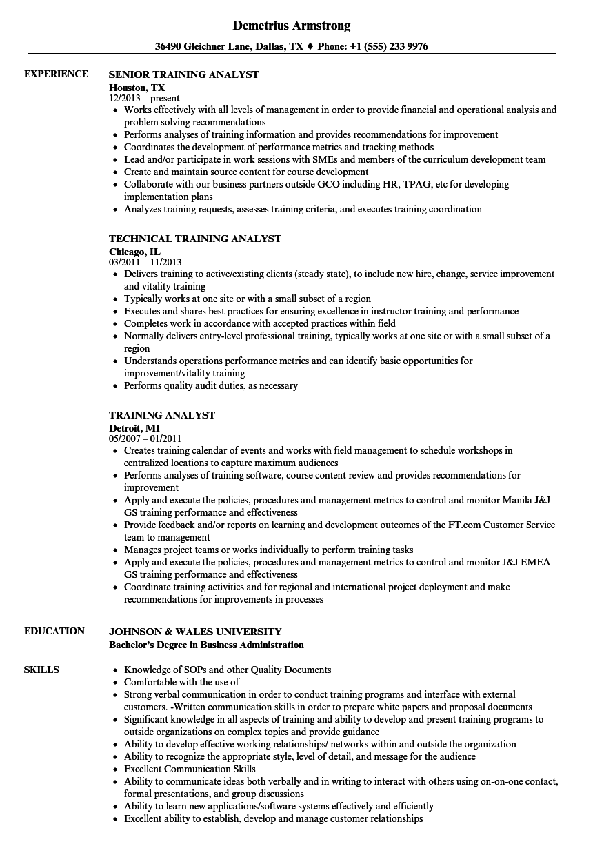 training analyst resume samples