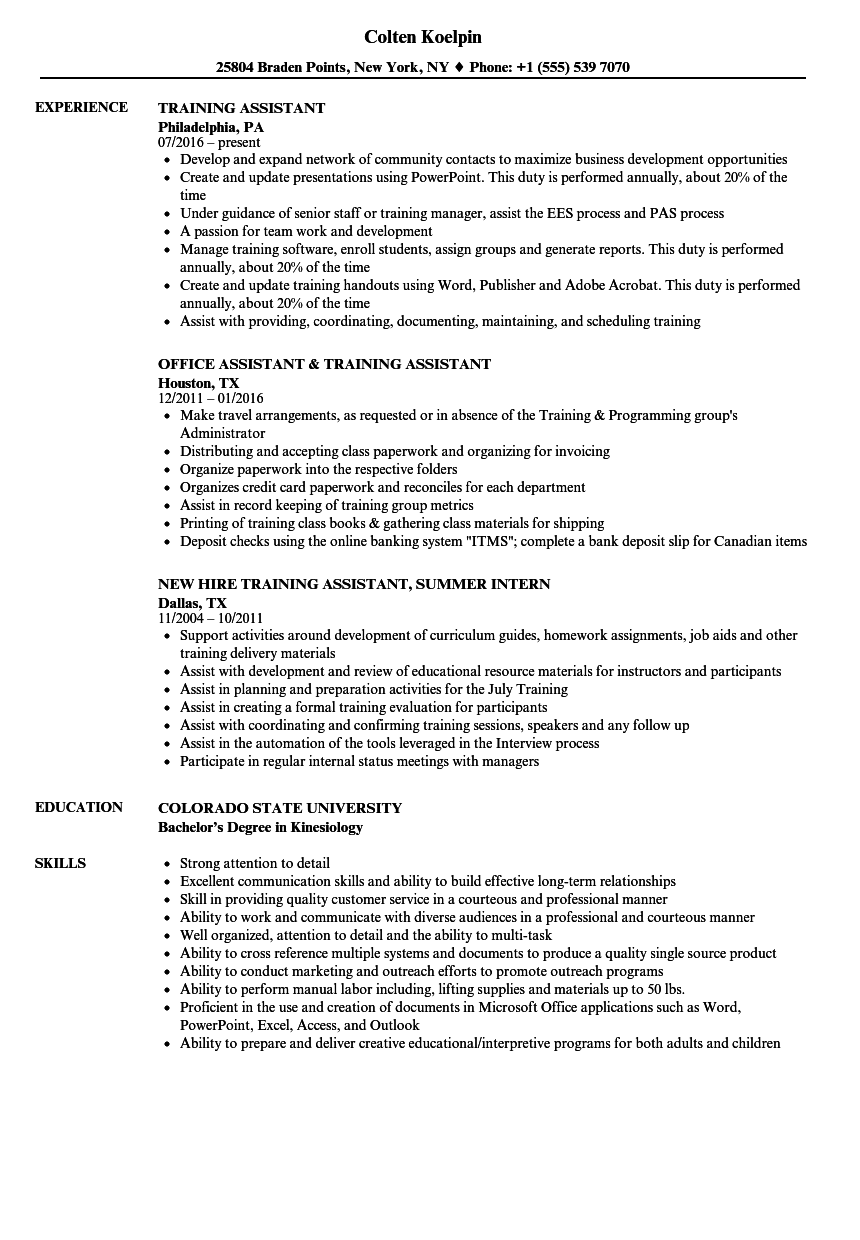 training assistant resume samples velvet jobs