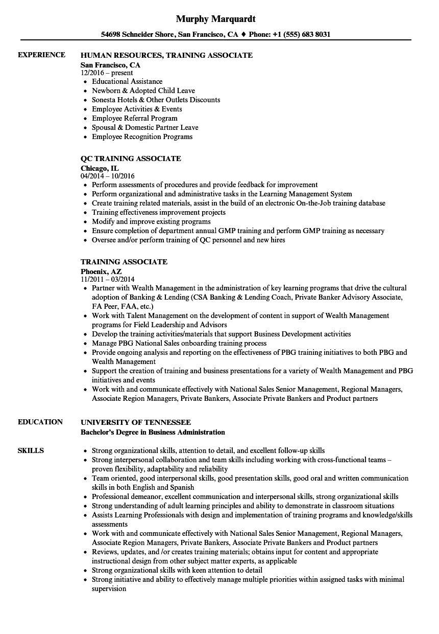 Download Training Associate Resume Sample As Image File
