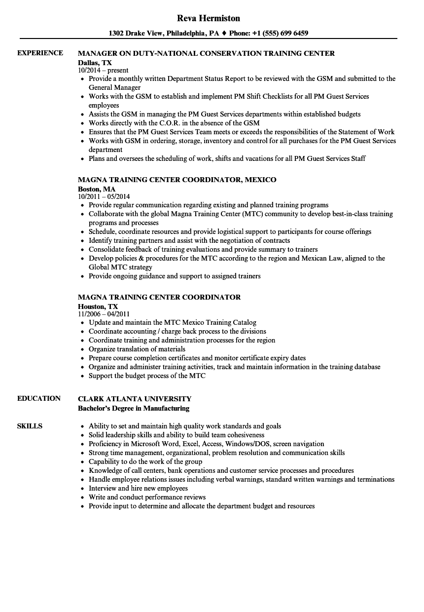 training center resume samples