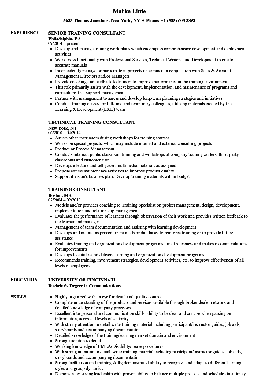 Download Training Consultant Resume Sample As Image File