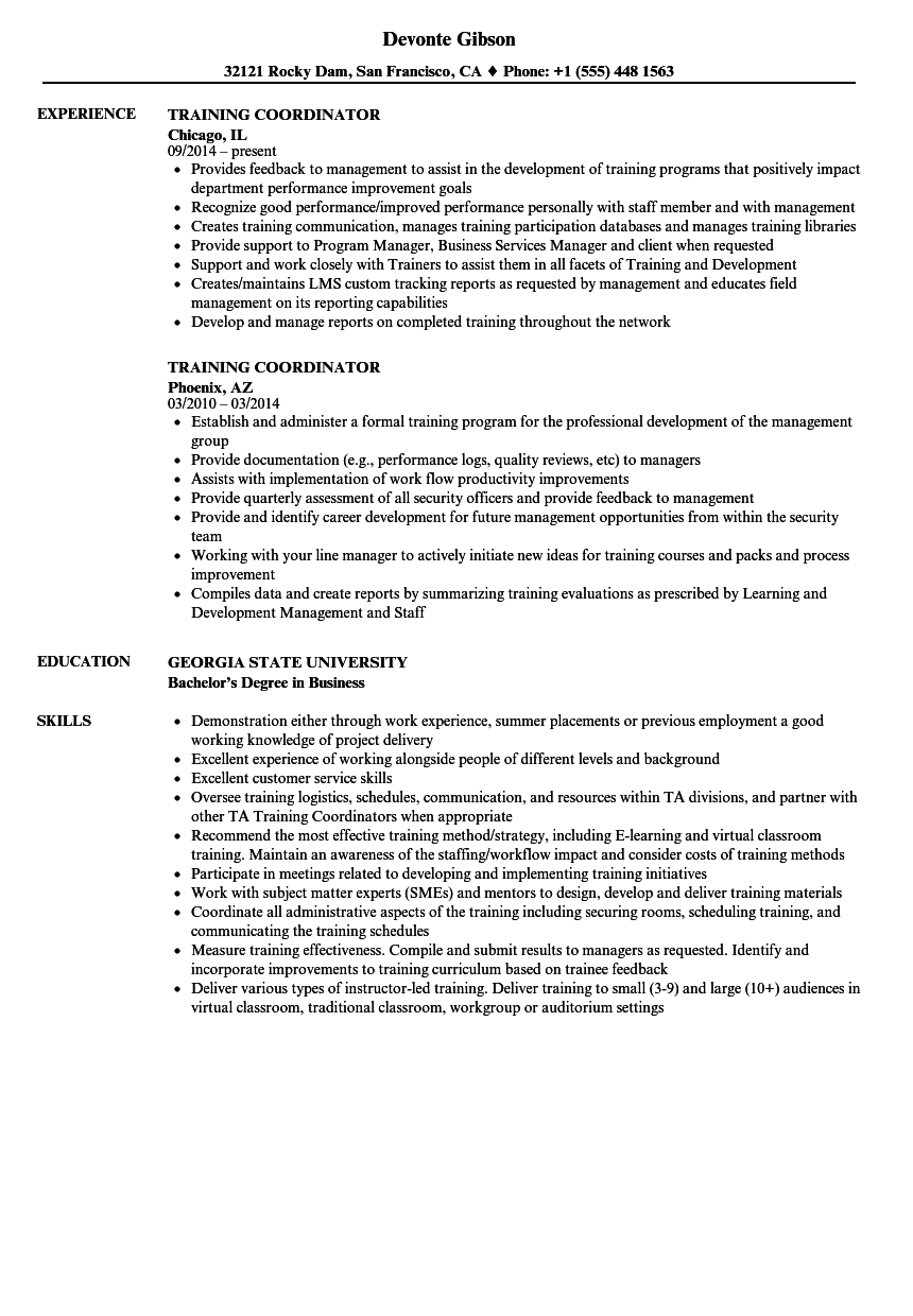 training coordinator resume samples