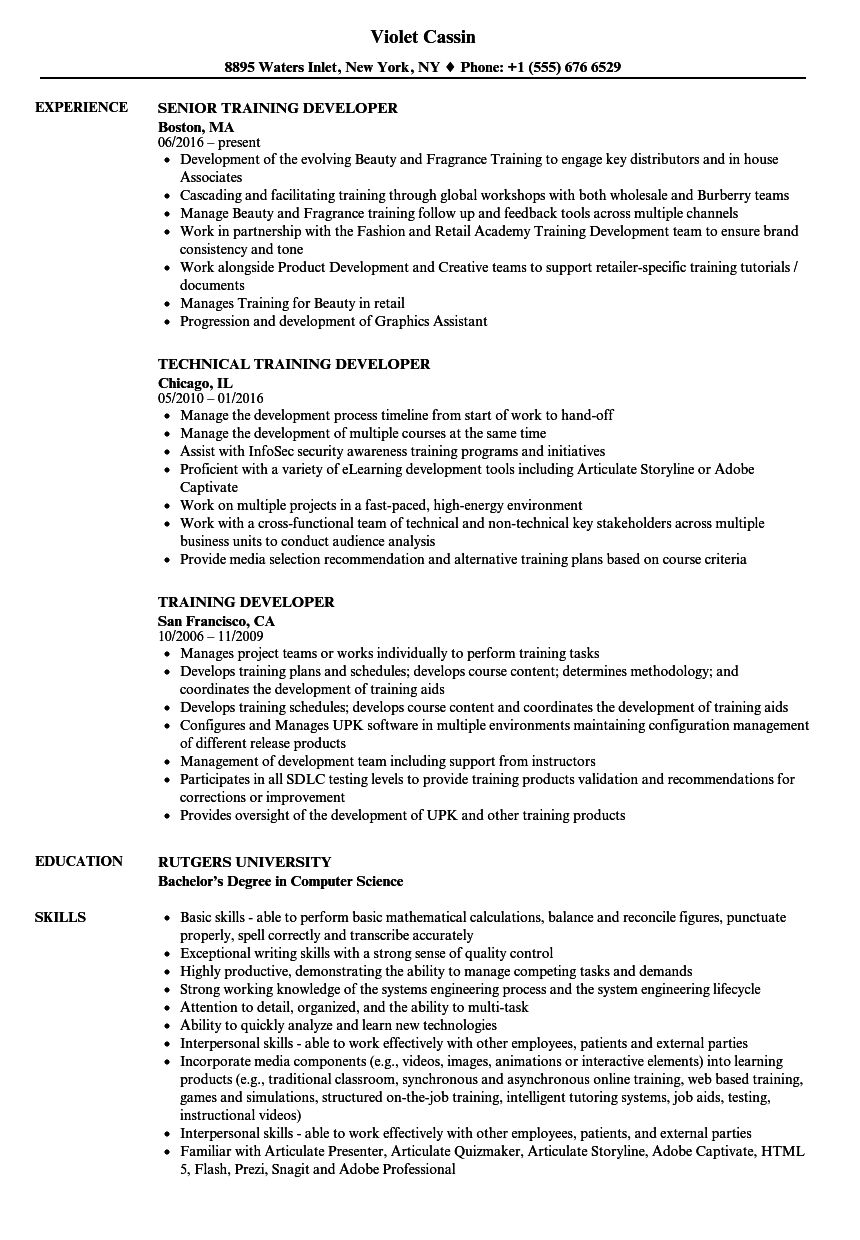 Training Developer Resume Samples | Velvet Jobs