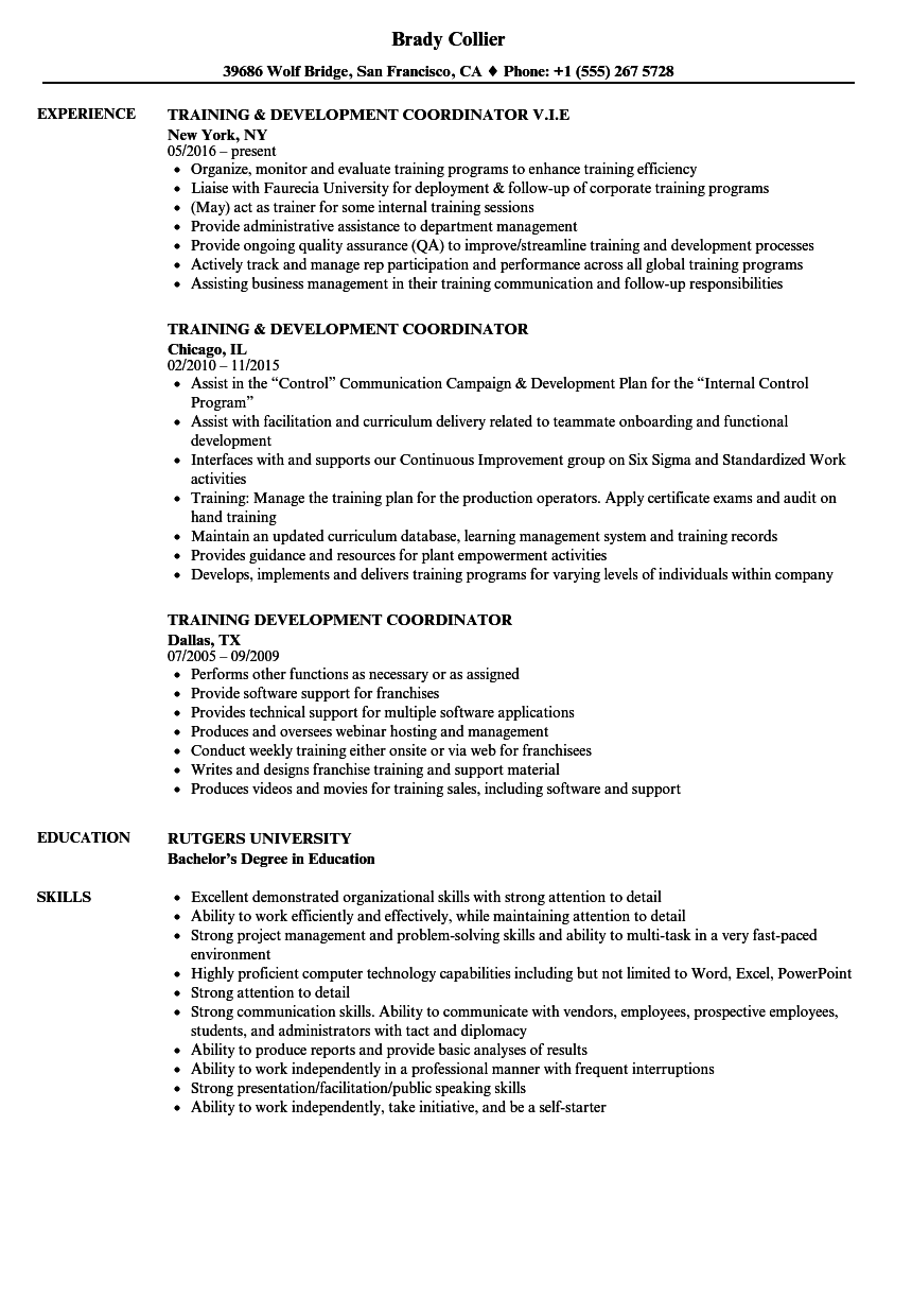 training  u0026 development coordinator resume samples