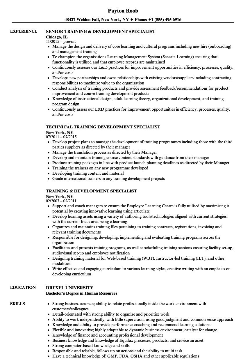 training  u0026 development specialist resume samples