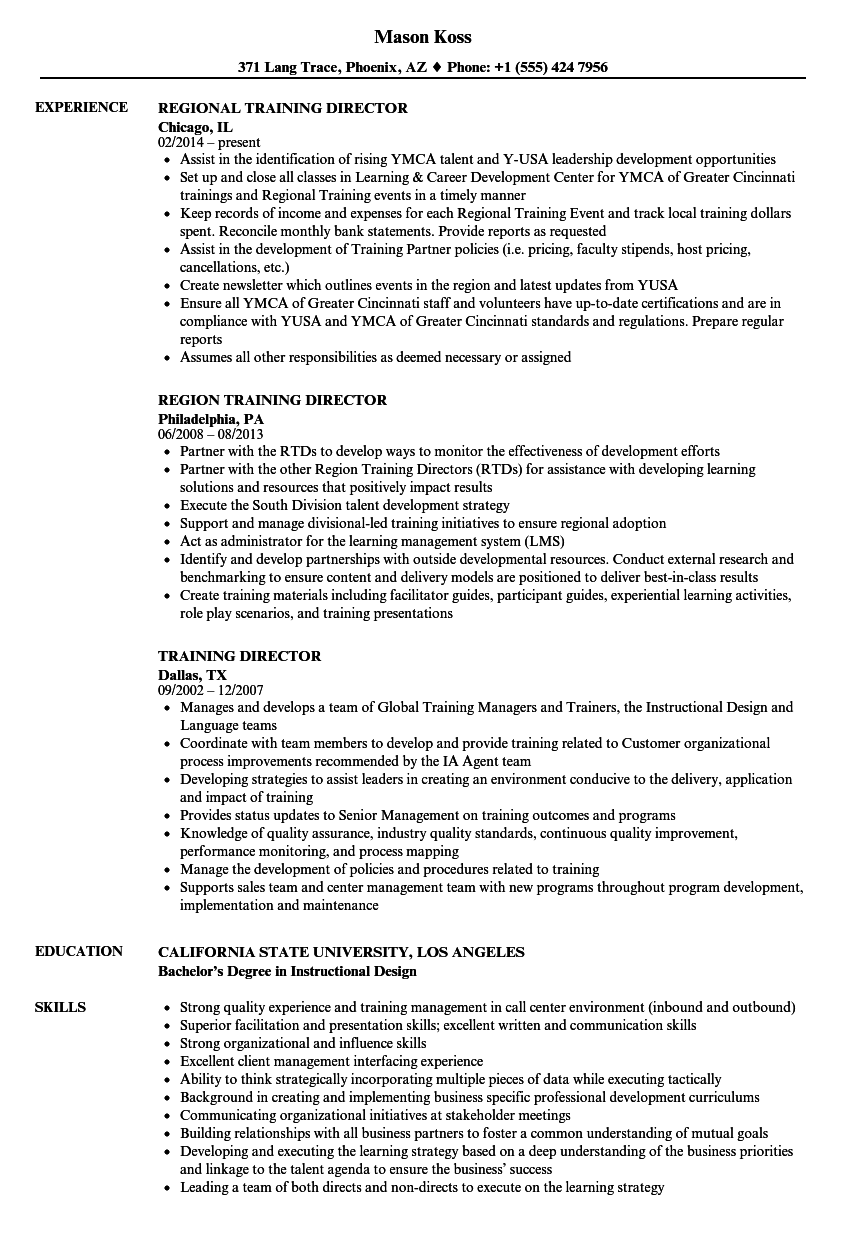 training director resume samples