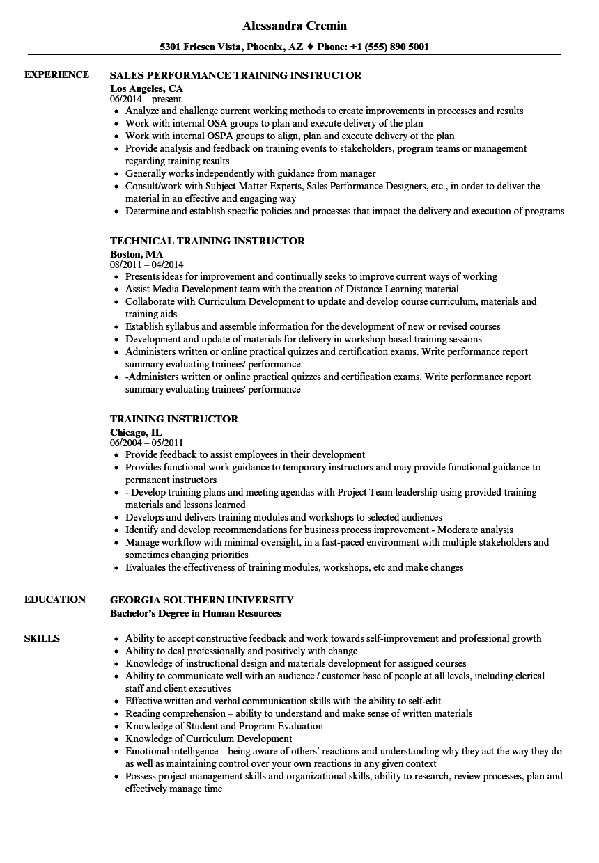 training instructor resume samples