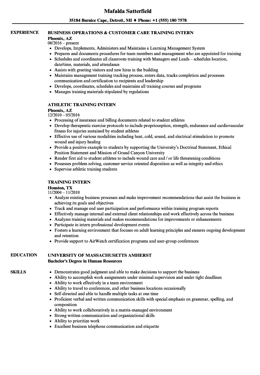 download training intern resume sample as image file - Internship Resume Examples