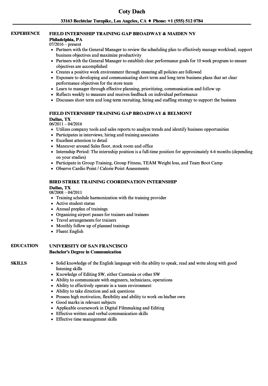 student internship resume samples