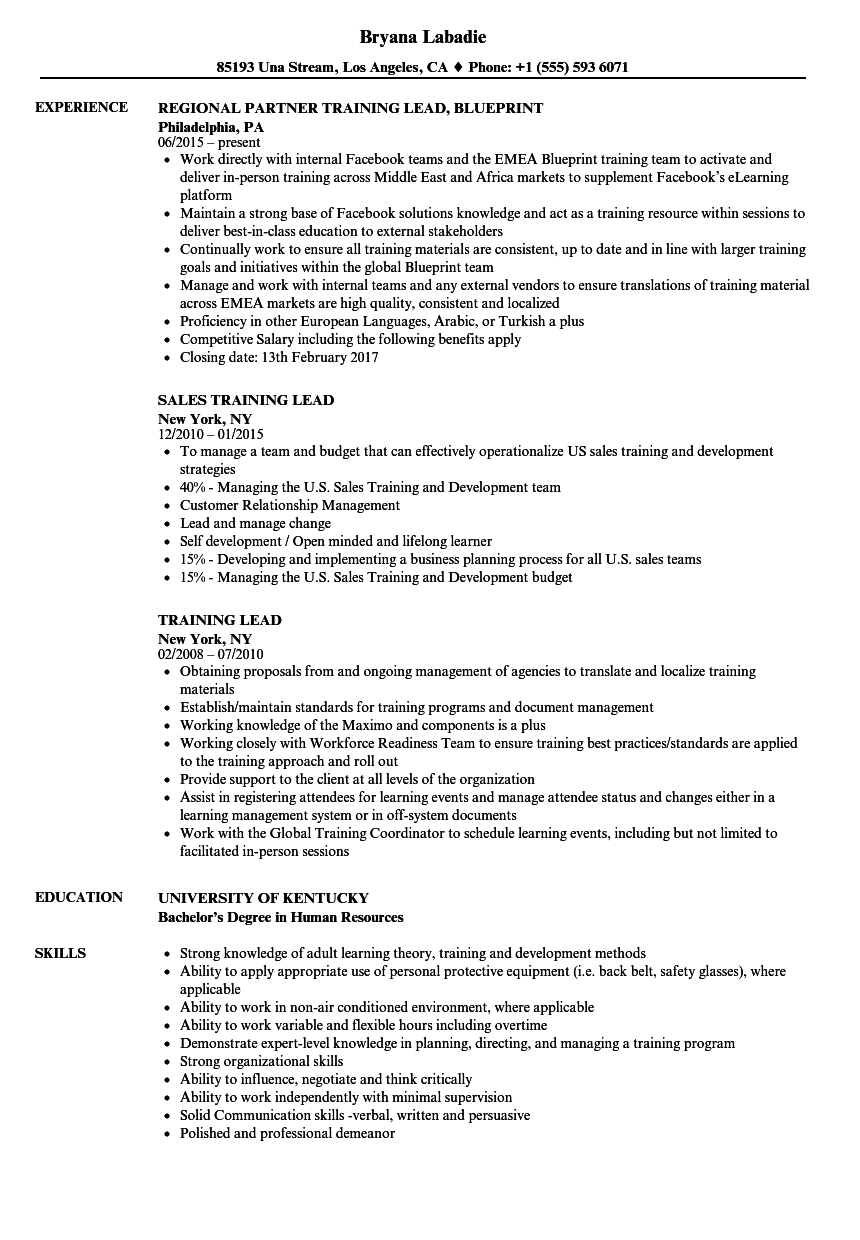 training lead resume samples