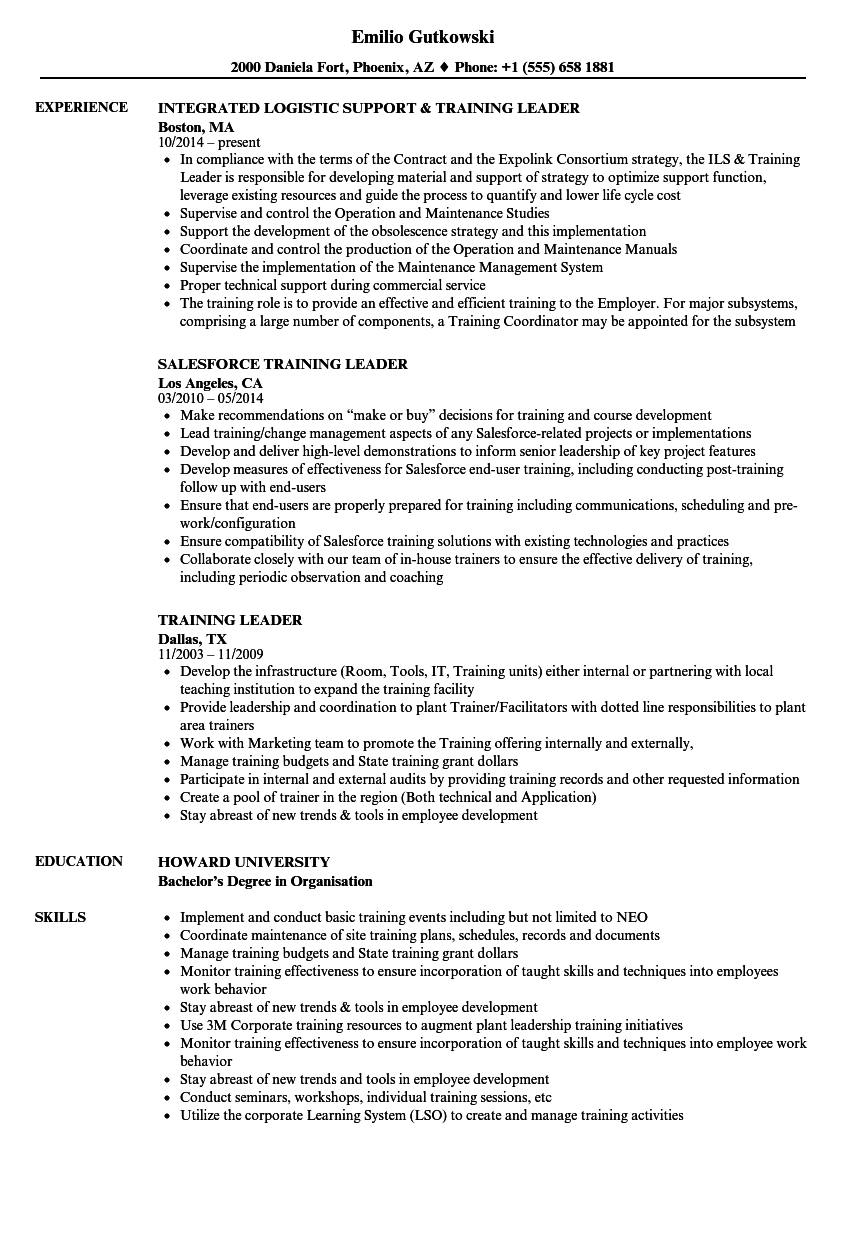 Download Training Leader Resume Sample As Image File  Training On Resume