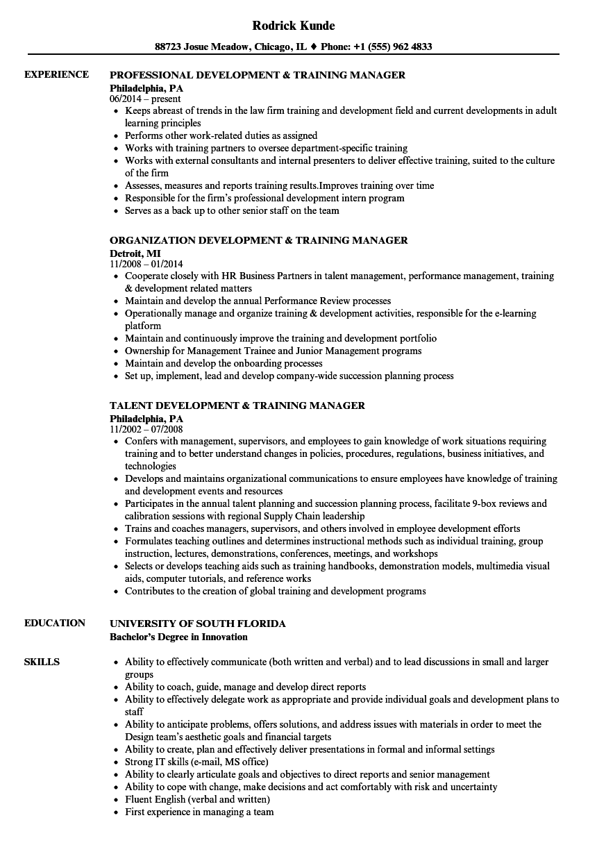 training manager  u0026 development manager resume samples