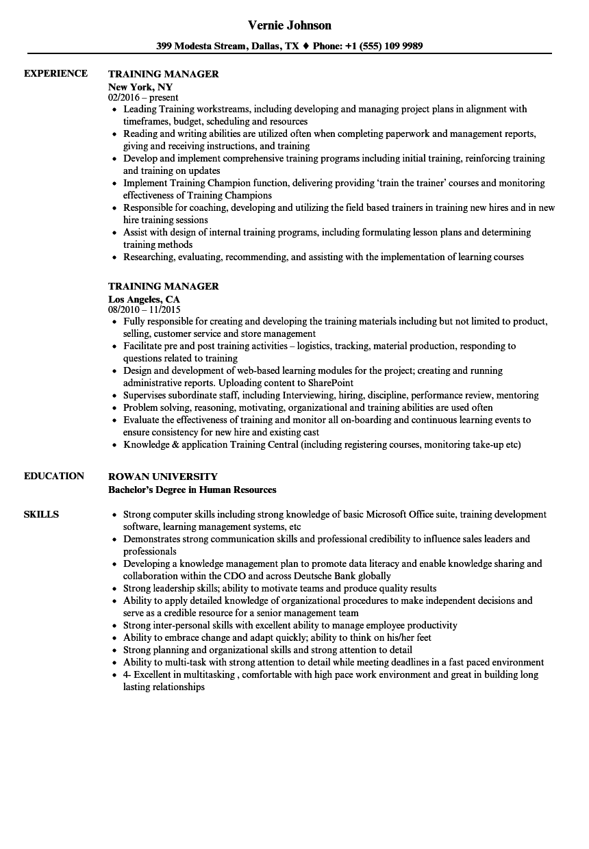 resume examples for training managers