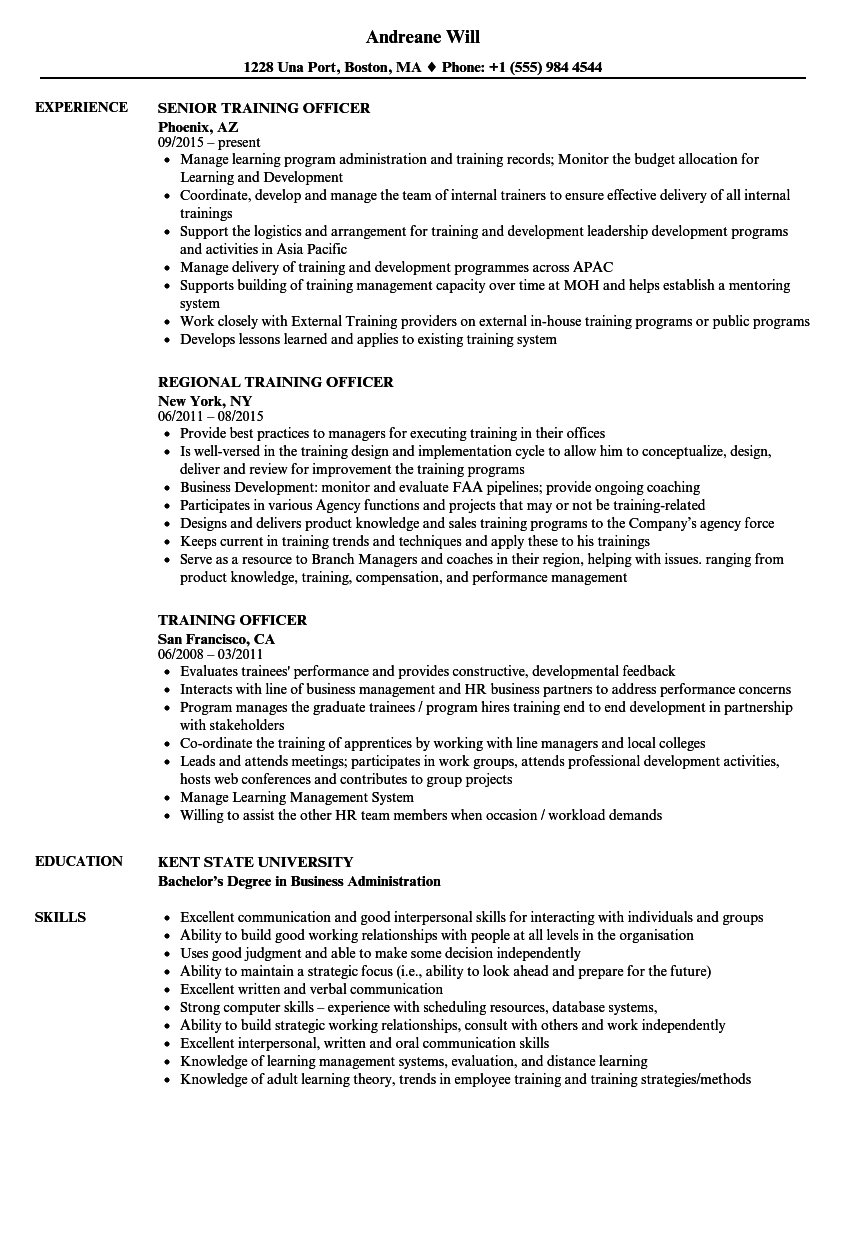 training officer resume samples