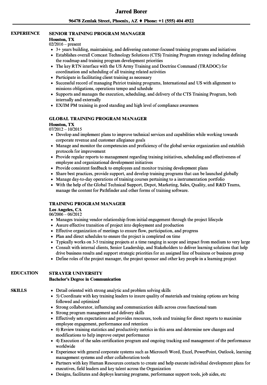 Program Manager Resume Inspiration Training Program Manager Resume Samples Velvet Jobs