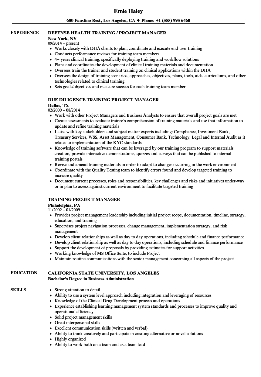 training project manager resume samples