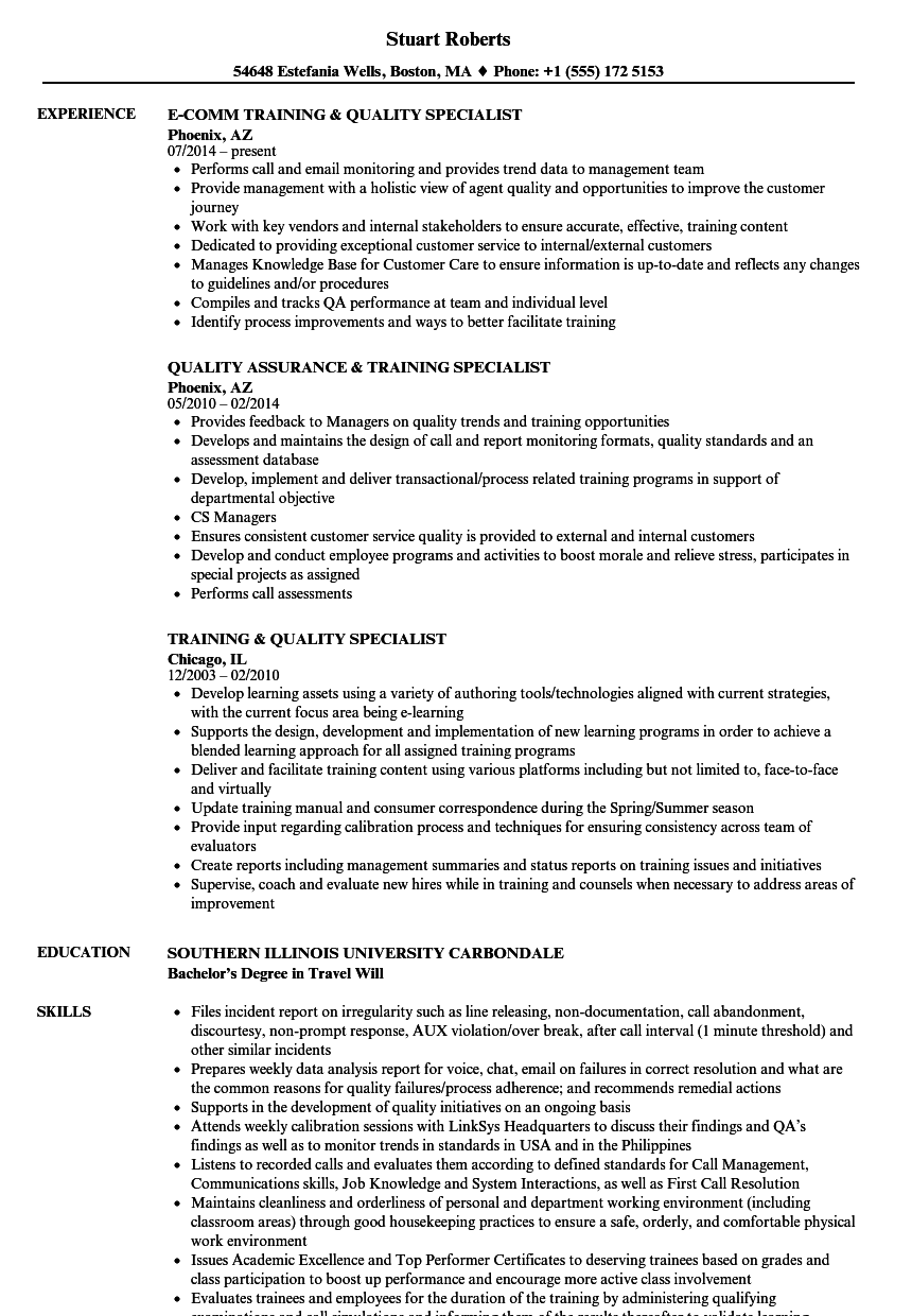 training  u0026 quality specialist resume samples