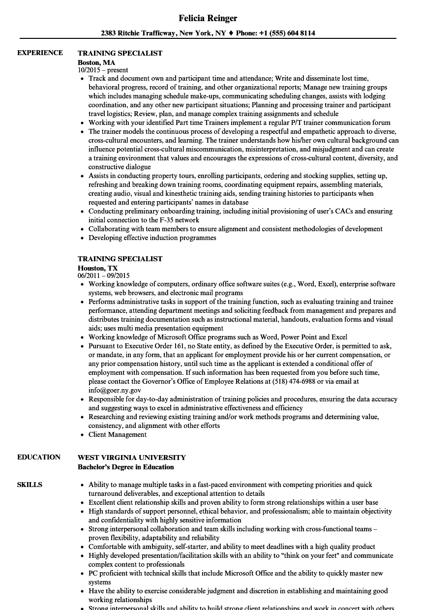Training Specialist Resume Samples Velvet Jobs