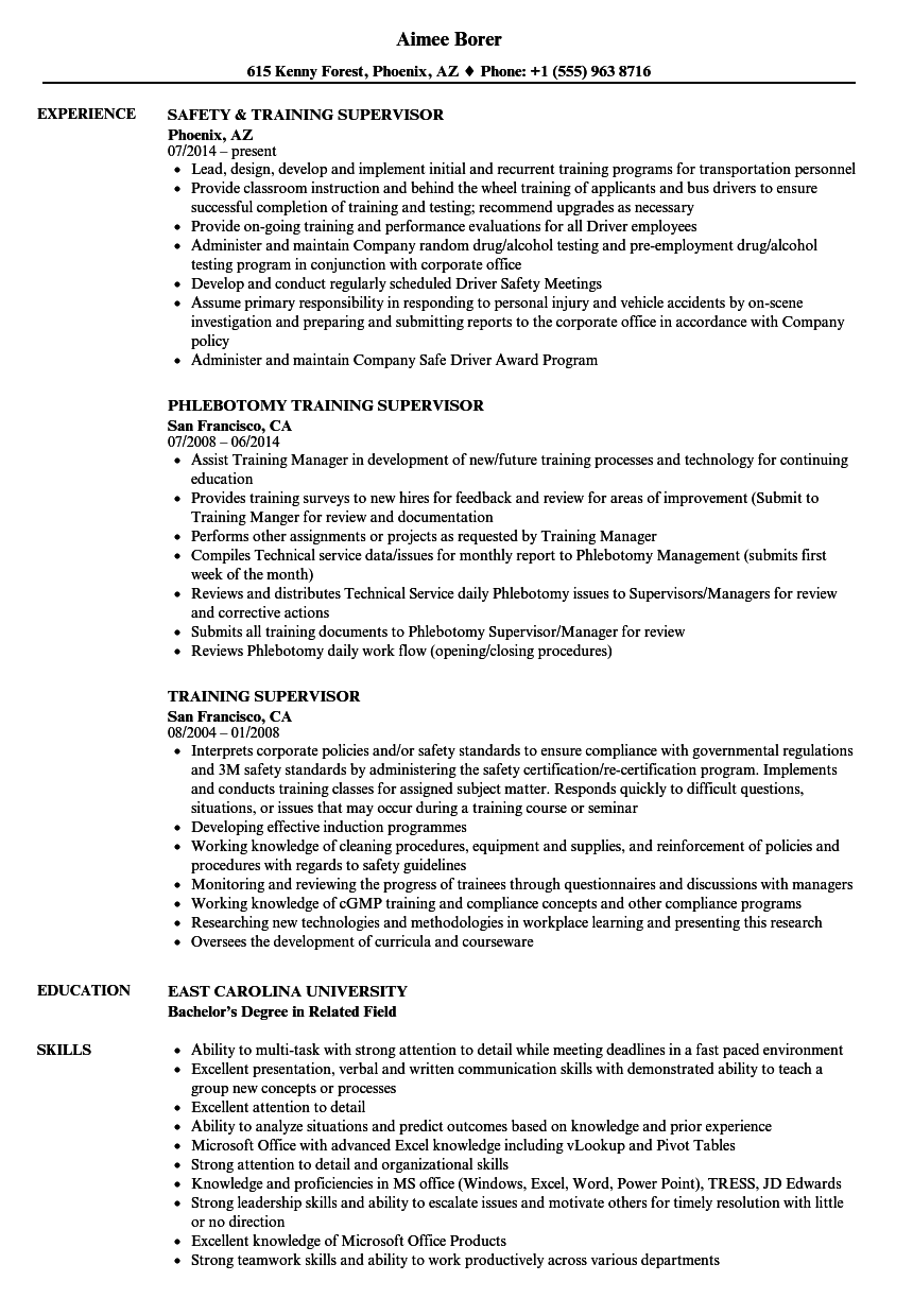 Training Supervisor Resume Samples | Velvet Jobs