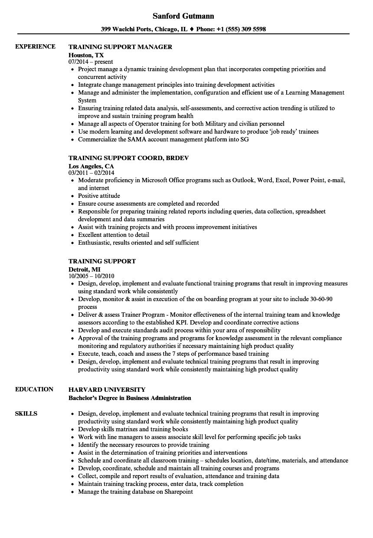 Training Support Resume Samples | Velvet Jobs