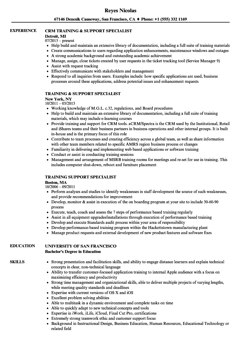 Training Support Specialist Resume Samples | Velvet Jobs