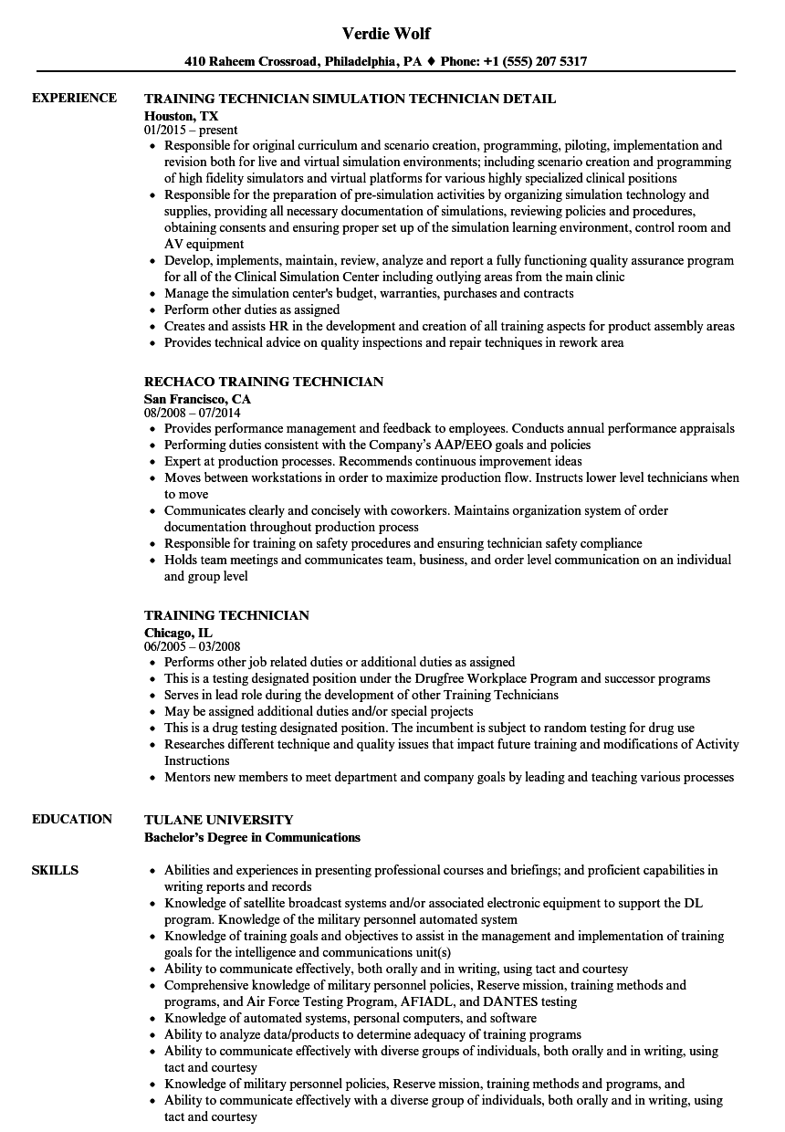 training technician resume samples