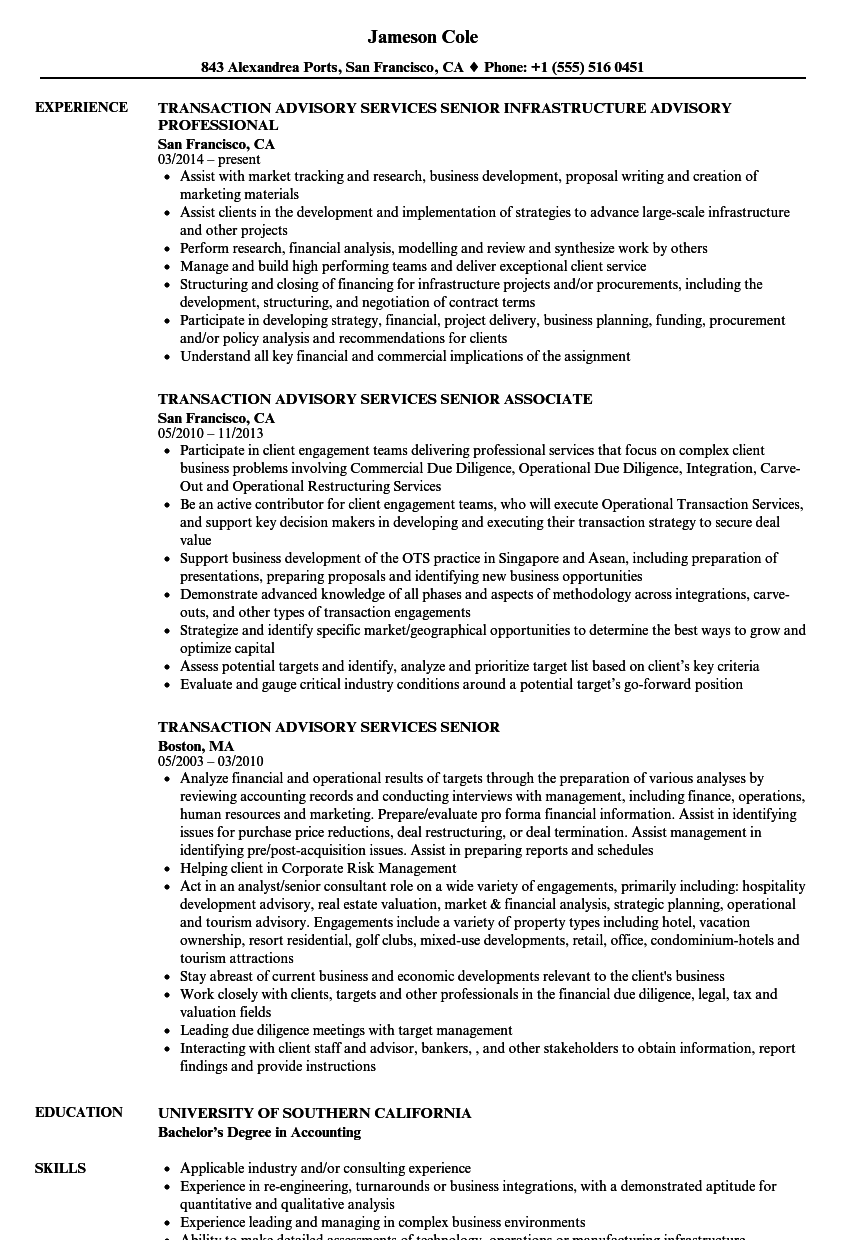 transaction advisory services senior resume samples