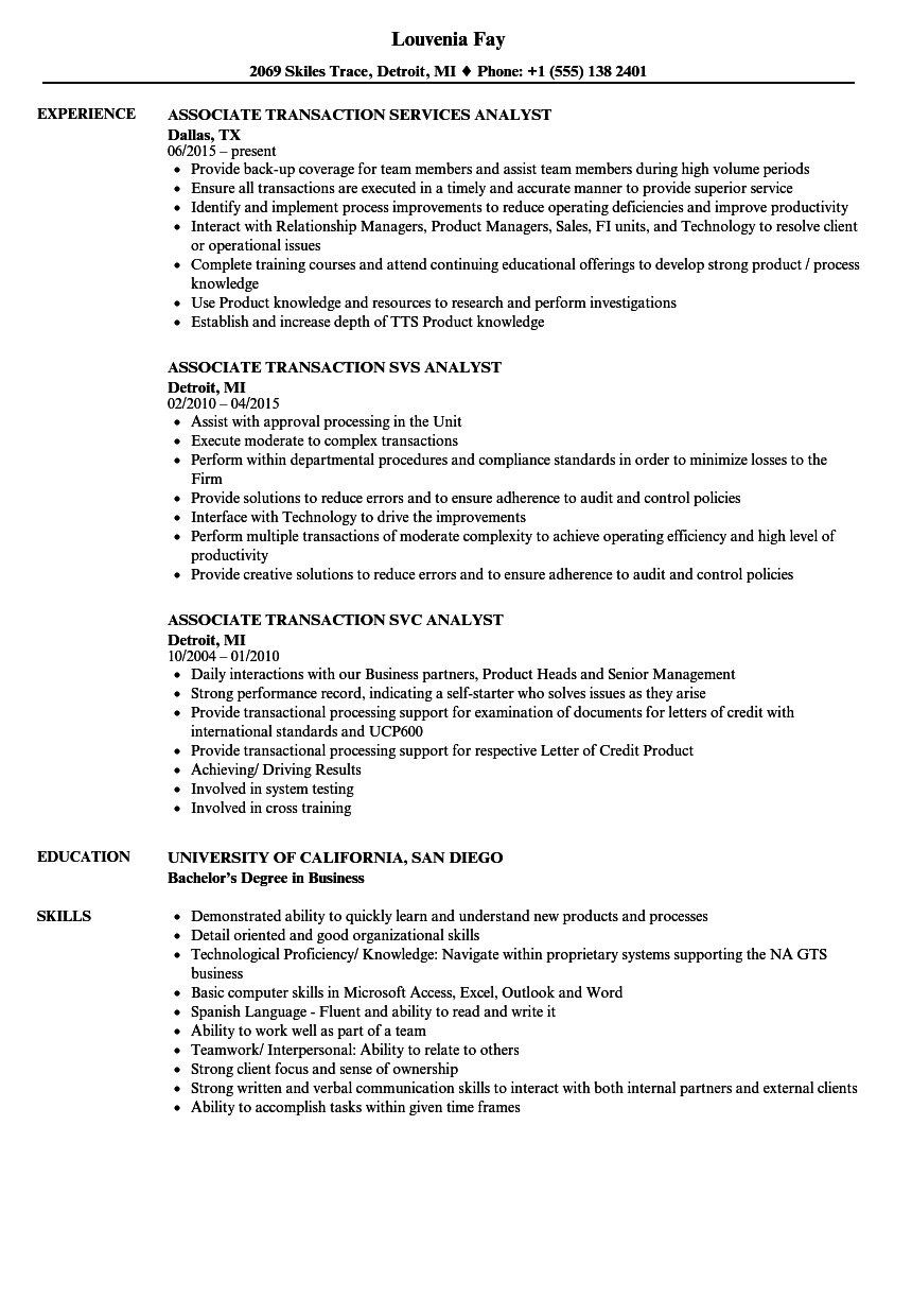 Transaction Associate Resume Samples