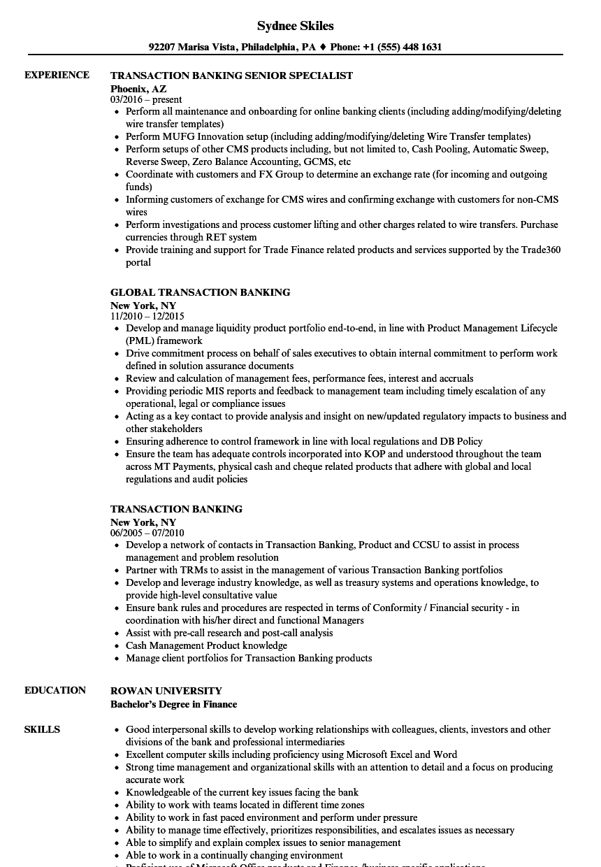 transaction banking resume samples