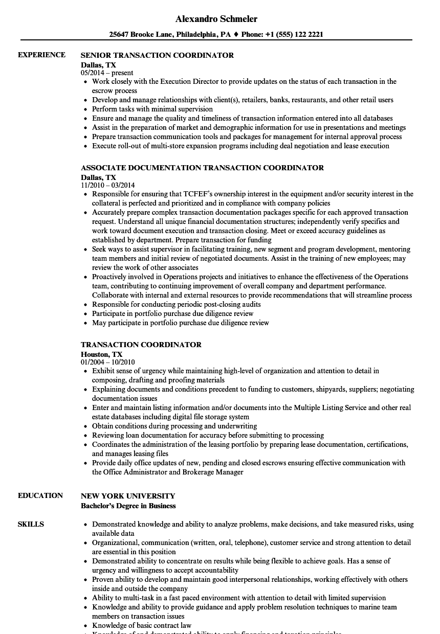 transaction coordinator resume samples