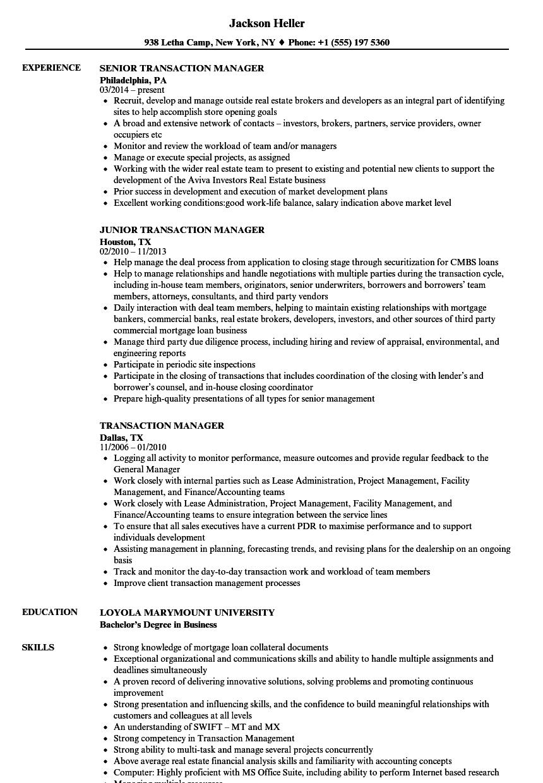 Transaction Manager Resume Samples | Velvet Jobs