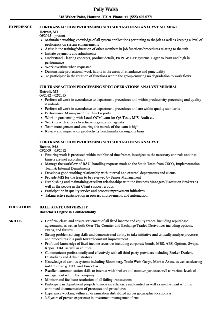 transaction operations analyst resume samples