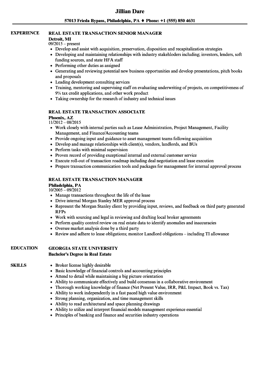 download transaction real estate resume sample as image file - Sample Real Estate Resume