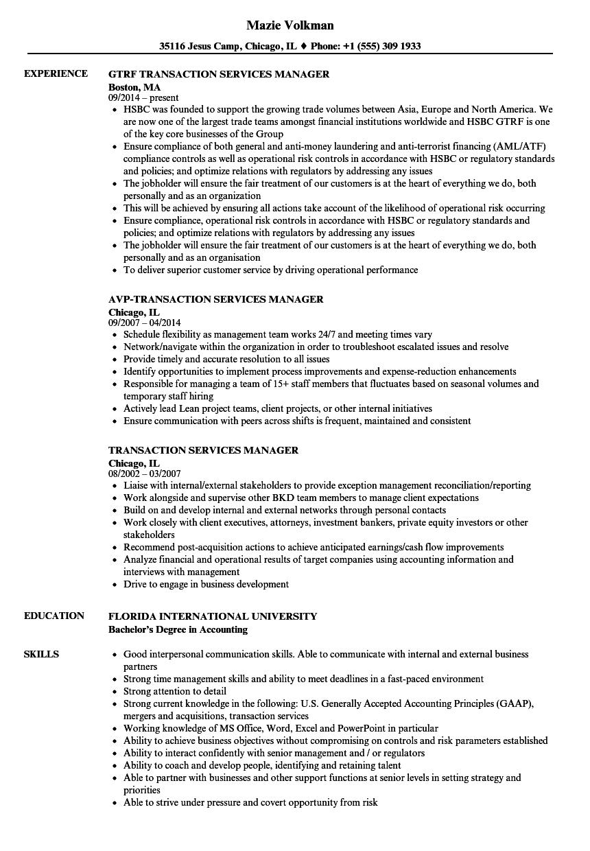 Transaction Services Manager Resume Samples | Velvet Jobs