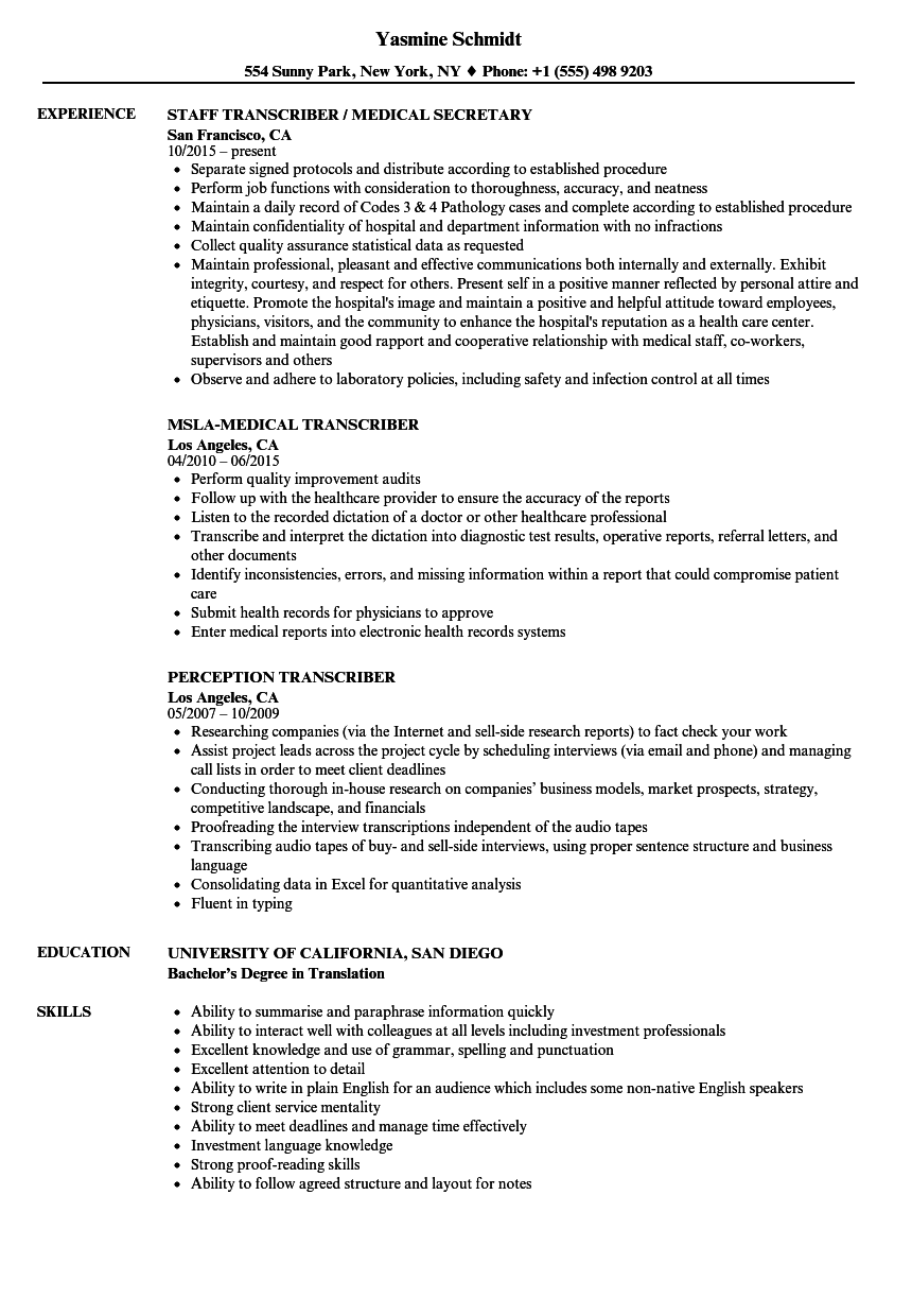 Transcriber Resume Samples Velvet Jobs